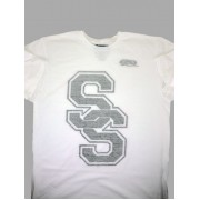 Varsity SS Heather Tee (White/Black)