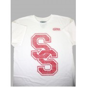 Varsity SS Heather Tee (White/Red)